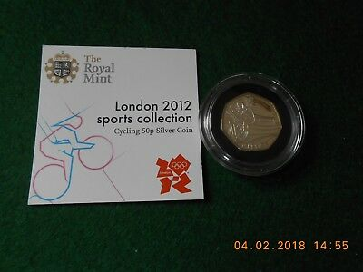 London 2012 Sports Collection Cycling 50p Silver Coin