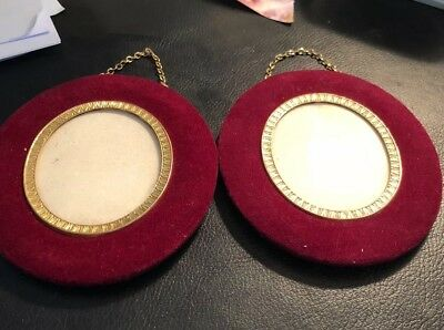 Pair of antique French velvet and gilt photo/miniature wall frames