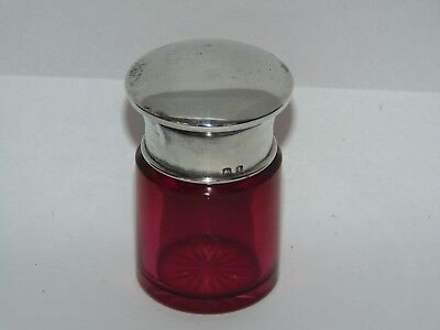 Sweet Antique 1918 Silver & Cranberry Glass Vanity Jar Scent Bottle Star Cutbase