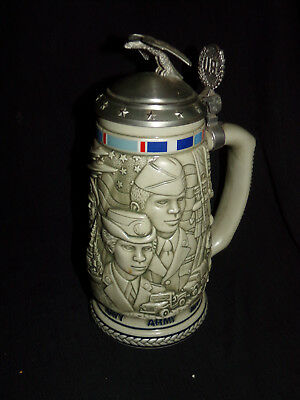 Avon Tribute to the American Armed Forces Stein 1990 Pottery Vtg Navy Marines