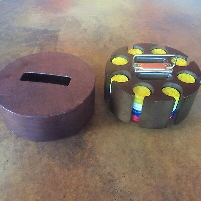 Vintage Wooden Poker Chip Revolving Carousel w/ Some Bakelite Chips & Cover