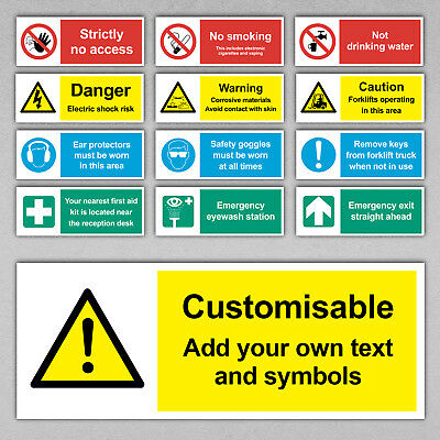 Custom Safety Sign - Health Cctv No Smoking First Aid Signs Construction Office