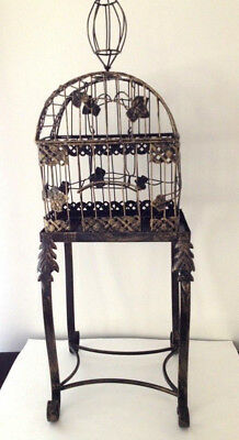 Decorative Vintage Style Bird Cage On Stand Black Gold Metal