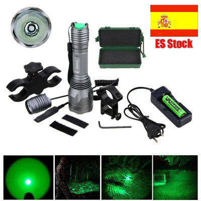 250 Yards Verde LED  Linterna Montura Caza Luz Rifle Lámpara Montar 18650+Switch