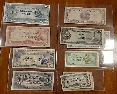 Lot of 12 Japanese Occupation Banknotes