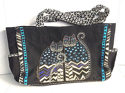Laurel Burch Purse Totebag Black with 2 Cats Yellow and Blue Colors