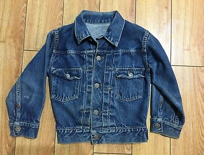 RARE Original Vintage Levi's Trucker Jacket Type 2 507XX Big E Selvedge Toddler