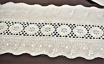 """Eyelet Lace 15 Yrs Ivory Color 4 1/2"""" Quilts, Bedskirts,bassinets,costumes, Doll"""