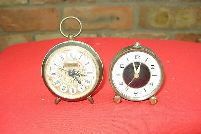 Clock Parts 2 Small Wind Up Alarm  Clock Spares Repair Oris & Jerger