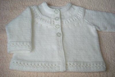 Hand Knit Baby Matinee Cardigan / Coat. Fit 0-3 mth. Lovely Traditional Pattern.