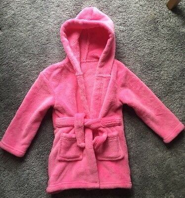 Cute Soft Touch Teddy Bear Feel Pink Baby Hooded Dressing Gown Age 18-24 Months