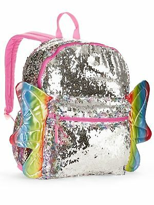 "Rainbow Butterfly 2-Way Sequins Backpack 16"" School Book Bag Tote Full Size"