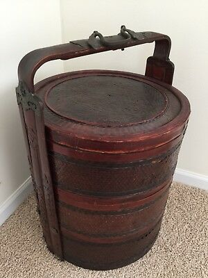 Antique Chinese Wedding Basket with Metal/Carved Handles