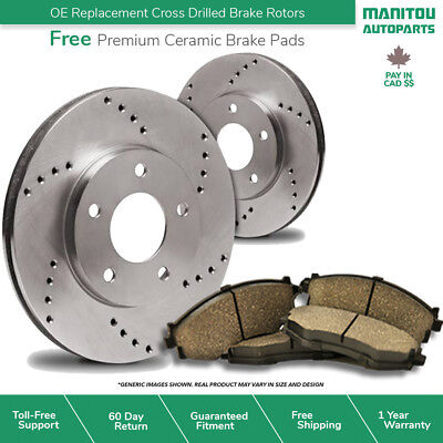 (Front Kit)2 Cross Drill Disc Brake Rotors + 4 Ceramic Pads(5lug)-PAY IN CAD$