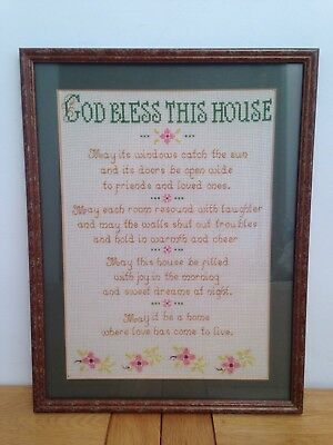 Vintage Embroidery Poem / Wall Hanging - GOD BLESS THIS HOUSE / Framed - 29x38cm