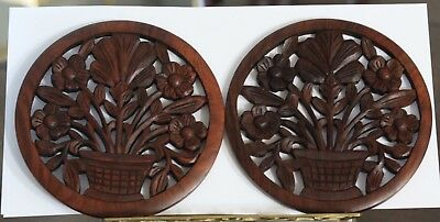 Two Vintage Black Forest style Wooden Wall Plaques Diameter  20 cm