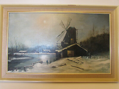 Vintage Large Original signed oil painting on canvas on board windmill house