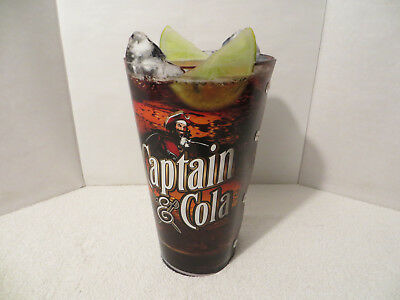 Vintage 3D CAPTAIN MORGAN & COLA ACRYLIC BAR Advertising Display; Translucent