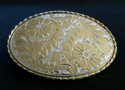 Floral Flowers Decorative Bright Gold & Silver Toned Design Western Belt Buckle