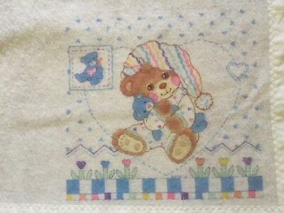 "Riegel TEDDY BEDDY BEAR Baby BLANKET by Riegel in USA 36""x45"""