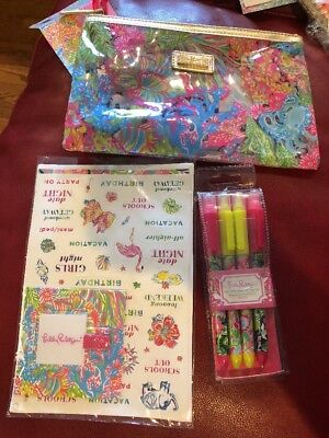 Lilly Pulitzer LOVER'S CORAL AGENDA Bonus Pack Zippered Pouch*Stickers*Pens*NWT!