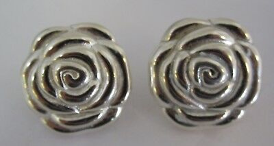Vintage ITAOR (ITALY) Sterling Silver Carved ROSE Earrings with Omega Back