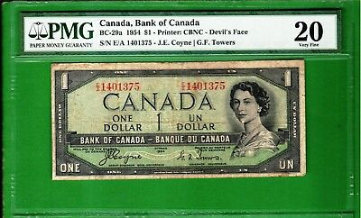 """Canada - 1954 Bank of Canada 1 Dollar Banknote BC-29a """"DEVIL""""S FACE"""" PMG20 VF"""