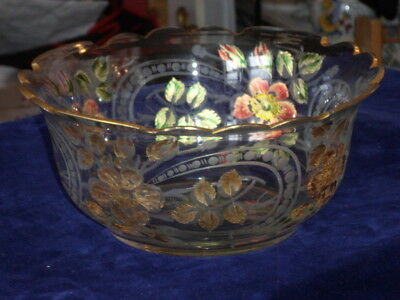 ANTIQUE 19TH C HEAVY LEAD CRYSTAL SERVING BOWL w ETCHED & PAINTED DESIGNS