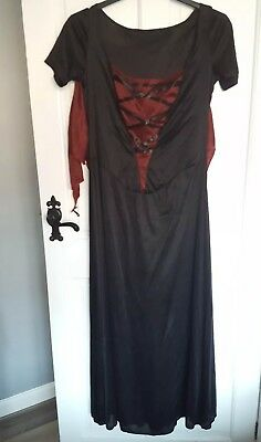 Womens Vampire Dress & Spider Web Cape Halloween Fancy Dress Costume
