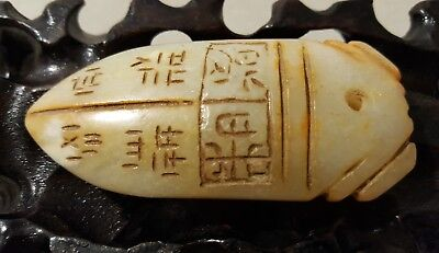 Chinese antique? jade cicada old big pendant translucent seal and character 58 g
