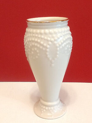 "Lenox Porcelain Vase 5"" Bud Vase Embossed Medallion Art Deco Pattern Gold Rim"