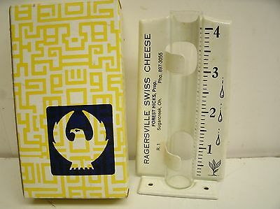 ORIGINAL vintage ADVERTISING RAIN GAUGE metal glass Ragersville Swiss Cheese, OH