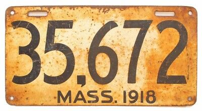 Massachusetts 1918 License Plate, 35 672, Low Number, Original Antique, Sign