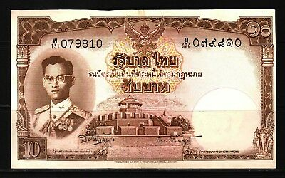 Thailand- 1953 Government of Thailand 10 Baht P76 XF+++ Condition