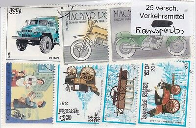 Transports 25 Stamps All Different