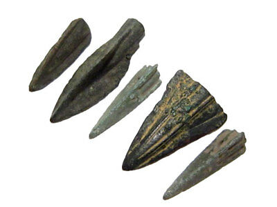Rare Lot Of 5 Greek Bronze Arrow Heads, Broad Variety+++