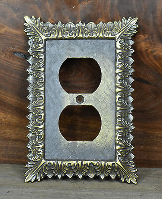 Vintage Victorian Brass Electric Outlet Cover Plate Floral 3025 MC & Co.