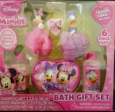NEW DISNEY MINNIE 6 Piece Bath Gift Set Shampoo Body Wash Bath Fizzie Travel Bag