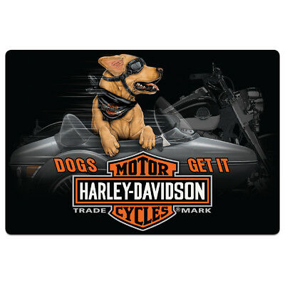 Harley Davidson Side Dogs Get It Die-Cut Embossed Metal Sign 17 x 11.5""