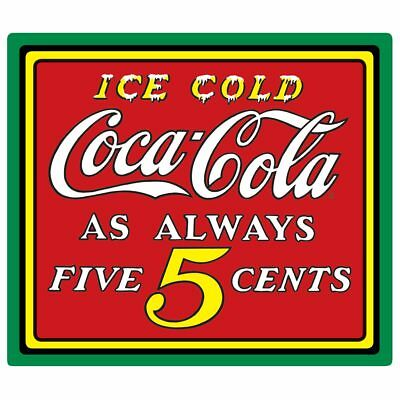 Coke Ice Cold Coca-Cola Sold Here Disc Die-Cut Embossed Metal Tin Sign 15 x 13""