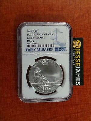 2017 P Boys Town Centennial Silver Commemorative Dollar Ngc Ms70 Early Releases