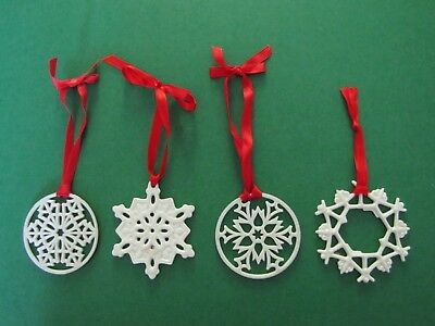 LENOX  Porcelain Snowflake Ornaments - Set of 4 - Ex Condition