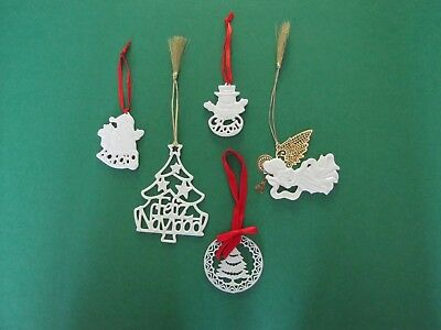LENOX Porcelain Christmas Ornaments - Set of 5 - Excellent Condition