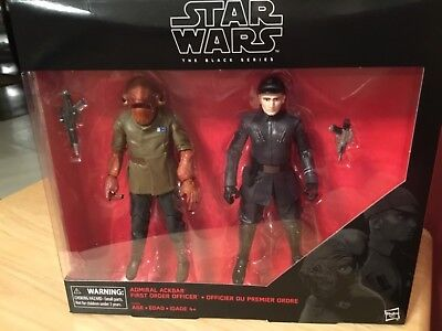 "New! Star Wars The Black Series 6"" Admiral Ackbar and First Order Officer"