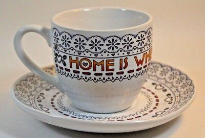 Mary Engelbreit White Lace Pattern Cup and Saucer 'Home is Where the Heart Is'