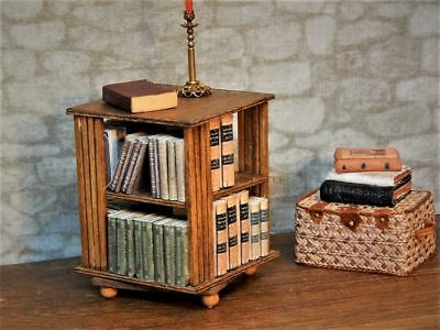 Rare Dollhouse Miniature Artist Made Library Spinning Wood Book Shelf Table Set