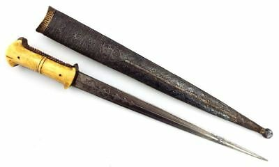 Rare Ottoman Turkish Wootz Damascus Dagger With Armor Piercing Blade, Silver Mts