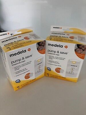 2 Medela Pump and Save Breast Milk Bags 50 Count