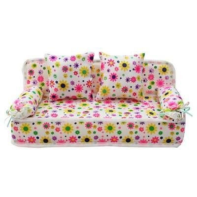 Dollhouse Miniature Furniture Living Room double sits Sofa Couch Flower G