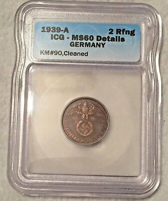 Germany 1939-A 2 Pfennig  ICG  MS60 Details Cleaned